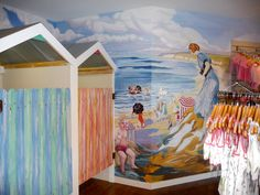 We're off to the beach and we'll buy swimmers while there! Here Matty Moos children's Boutique creates the warmth of yesteryear through a hand painted wall mural and feaux finished dressing rooms.