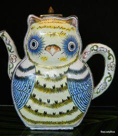 Vintage UNIQUE Metalware CLOISONNE ENAMEL Owl Teapot Pinned by www.myowlbarn.com