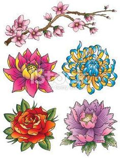 japanese flower tattoo - Google Search                                                                                                                                                      More