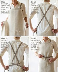 An Oyster White linen apron is the classic choice for many professional cooks and servers. And it is more practical than you may think, as linen resists dirt and stains are easy to remove. This apron Sewing Aprons, Sewing Clothes, Diy Clothes, Sewing Hacks, Sewing Crafts, Sewing Tips, Sewing Tutorials, Sewing Men, Sewing Basics