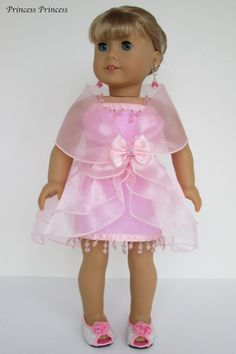 """American girl doll clothes """" Linda"""" Pink / Beads trim ( 4 pieces - dress, separated over skirt, formal stole, and headband )"""