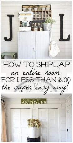 DIY shiplap walls - How to shiplap an entire room for LESS THAN $100. A full tutorial on how to shiplap the easy way & the cheapest way for a huge impact. A must pin for future shiplap projects! #interiordecoronabudgettutorials
