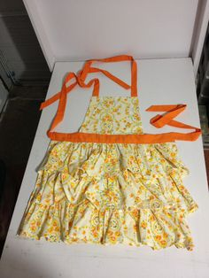 Hand Sewn Triple Tiered Apron Made From Vintage Cotton Sheets
