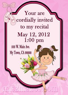 Ballerina Invitation, do you know a Ballet Dancer  who is having a recital? by M2MPartyDesigns