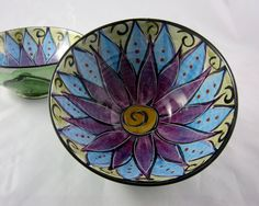 Ceramic Serving Bowl Clay Majolica Pottery Kitchen Purple Lotus Flower Medium
