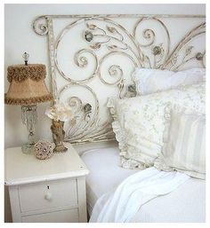 <3 the lampshade and the rod iron headboard