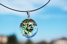 Murano Glass Evil Eye Pendant , Lamp Work Evil Eye Necklace,Green Transparent Bead Pendant, Colourfu