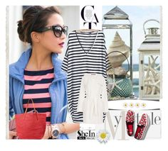 """Striped dress Shein"" by dzena-05 ❤ liked on Polyvore"