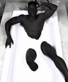 Ideas for milk bath photography male Gorgeous Black Men, Handsome Black Men, Beautiful Men, Illustration Book, Creative Illustration, Bath Photography, Fashion Photography, Poses References, Hommes Sexy