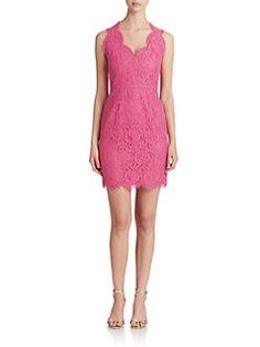 Shoshanna - Scalloped Lace Sheath Dress