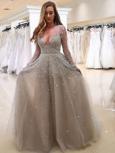 Cute Prom Dresses, A-Line Deep V-Neck Long Sleeves Light Grey Tulle Beaded Prom Dress, Shop plus size prom dresses and full figured formal gowns with an affordable price. Grey Prom Dress, Elegant Prom Dresses, Prom Dresses Long With Sleeves, Beaded Prom Dress, Plus Size Prom Dresses, Prom Dresses With Sleeves, A Line Prom Dresses, Cheap Prom Dresses, Evening Dresses