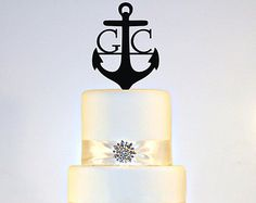 Anchor Wedding Cake Topper Monogram in ANY LETTER A B C D E F G H I J K L M N O P Q R S T U V W X Y Z