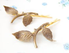 Leaf Branch Bobby Pin Set - Woodland Collection - Whimsical - Nature - Bridal - Gold by NestingPretty #TrendingEtsy