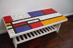 Piet mondrian Mais no Easy Mosaic, Mosaic Tray, Mosaic Wall, Mosaic Glass, Mosaic Tiles, Mosaic Outdoor Table, Mosaic Coffee Table, Mosaic Art Projects, Mosaic Crafts