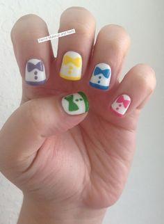 Rainbow tuxedo nail art