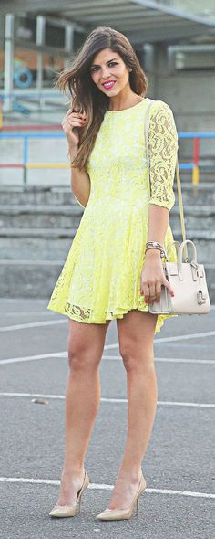 Yellow Lace Dress Styling by TrendyTaste
