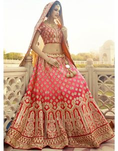 Charismatic Coral Pink and Rust Red #Bridal #Lehenga Choli