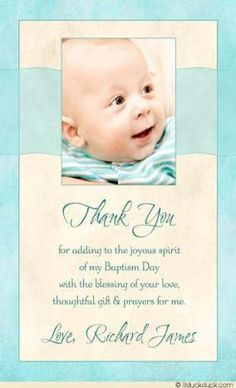 Blessed Baby Photo Thank You Card - Boy Seafoam & Ivory Baptism Design Christening Thank You Cards, Baptism Cards, Baby Boy Christening, Baby Girl Baptism, Thank You Card Wording, Photo Thank You Cards, Dinner Invitation Wording, Baptism Invitations, Baptismal Giveaways