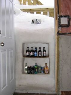 But you may have a drinking problem? When life hands you a snow storm, you make a snow fridge. | 20 Ways You Know You Are An Optimist