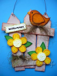 Spring Wood Craft - Fence with Bird and Flowers 1