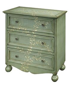 Hand-painted wood accent chest in burnished green with three drawers and a scalloped apron. Product: Accent chestConstruction Material: WoodColor: Burnished greenFeatures: Hand-paintedThree drawersSkirted bottomBun feet Dimensions: H x W x D Accent Chests And Cabinets, Hand Painted Furniture, Painted Wood, Painted Dressers, Painted Wicker, Painted Chest, Pics Art, Wood Accents, Ideas