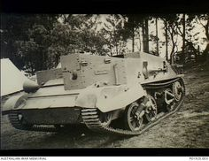 Mount Martha, Vic. c. 1940. A damaged Universal Carrier (Bren Gun Carrier) after trials conducted at Mt. Martha Military Camp to determine the effects of driving tracked vehicles through loosely ...