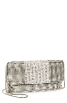 Whiting & Davis Rhinestone Stripe Metallic Mesh Flap Clutch available at #Nordstrom
