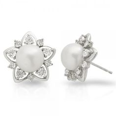 Allurez Freshwater Pearl & Diamond Flower Shape Studs Sterling Silver... ($440) ❤ liked on Polyvore