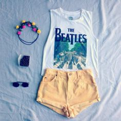 beatles  shirt  yellow shorts flower crown and brownies