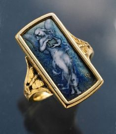 This is not contemporary - image from a gallery of vintage and/or antique objects. PAUL VICTOR GRANDHOMME 1851-1944  Exceptional 'Pandora' Ring  Gold Enamel