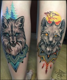 wolf and fox tattoo on calf …