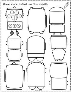 Draw more on the page to create robots! This is one activity of 20 in our new 'Draw More' printable worksheet pack, perfect for home learning and developing creative thought. Drawing Activities, Preschool Learning Activities, Morning Activities, Whole Brain Teaching, Teaching Art, School Fun, Art School, Drawing For Kids, Art For Kids