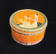 Vintage Richard Hudnut Three Flowers Dusting Powder Tin With Puff