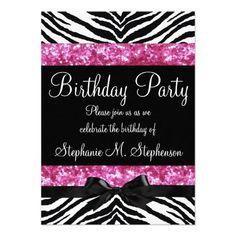 46 best party invites images on pinterest invitations birthday birthday party invitations templates hot pink sparkle zebra girls birthday party custom invitations stopboris Gallery