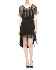 Feather Beaded High-Low Dress, Black by Tart at Neiman Marcus Last Call.