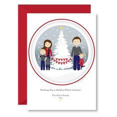 Printable Christmas Card, Snowy Christmas Tree, Custom Portrait, Family Illustration, Custom Holiday Card by HeadHand-Heart.com