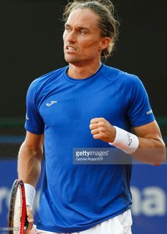 Alexandr Dolgopolov of Ukraine celebrates after wining a point during a first round match between Alexandr Dolgopolov of Ukraine and Janko Tipsarevic of Serbia as part of ATP Argentina Open at Buenos Aires Lawn Tennis Club on February 14, 2017 in Buenos Aires, Argentina.