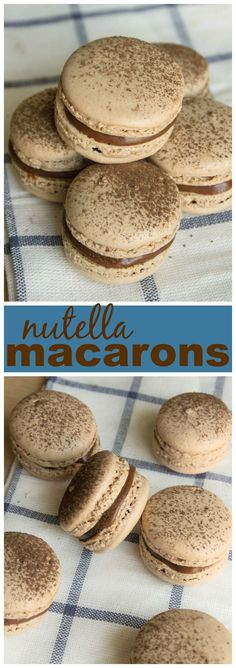Nutella Macarons More (nutella filled cookies food) Macaroon Filling, Macaroon Cookies, Nutella Recipes, Cookie Recipes, Dessert Recipes, Chocolate Recipes, Tea Cakes, Nutella Macaroons, Oreo Macarons
