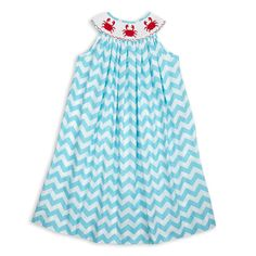 Feeling Crabby? Not Us!!! Shop This #LollyWollyDoodle Turquoise Chevron Crab Smock Dress! Just $32! Shop Now Before Sizes Run Out!!  http://www.lollywollydoodle.com/collections/girls-smocking/products/turquoise-chevron-crab-smock-dress?utm_source=Pinterest
