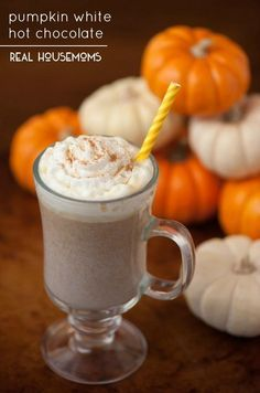 Stay cozy warm this fall and enjoy some delicious Pumpkin White Hot Chocolate made with pumpkin puree and white chocolate!