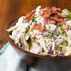 Blue Cheese Bacon Coleslaw is crunchy and creamy and goes great with grilled meat or is a delicious topping for burgers and hot dogs.