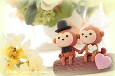 Gorgeous...LOVE ANGELS Wedding Cake Topperlove monkey by kikuike on Etsy