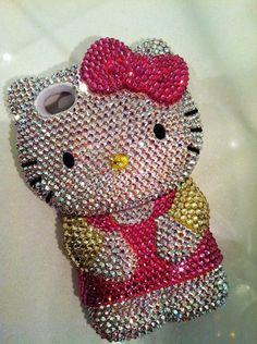 big hello kitty shape phone cover fits iphone 4 handmade w swarovski element-f72602.jpg (570×764)