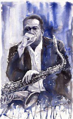 Painting - Jazz Saxophonist John Coltrane Blue by Yuriy Shevchuk , Jazz Artists, Jazz Musicians, Music Artists, Jazz Painting, Jazz Blues, Blue Art, Oeuvre D'art, Les Oeuvres, Fine Art America