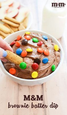 When back-to-school season is busy and you need a quick and easy sweet snack idea that can help your kids celebrate and also doubles as a kid-friendly dessert—look no further than this recipe for M&M Brownie Batter Dip! Find everything you need to make this easy treat—plus fruits and cookies to use for dipping—at your local Kroger.