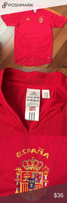 NWOT Official Adidas SPAIN Soccer Jersey Brand New. Tag says S Men, but runs like Women's M or Kids L/XL. 18 inches across chest 26 inches long. Nothing on back. Adidas Tops