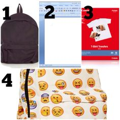 Emoji backpack DIY 1. Bleach an old cotton backpack, then wash and dry 2. Put all your favorite emojis on a blank word pg 3. Print your emojis on to transfer paper 4. Iron the emojis on to the back pack how you want them TADA!!!