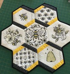 Love this honeybee design grouping. Hexagon Quilt Pattern, Quilt Block Patterns, Pattern Blocks, Quilt Blocks, Quilting Tips, Quilting Projects, Anita Goodesign, Sewing Essentials, Embroidered Quilts