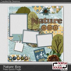 nmss_deanna_natureboyQP1pre Kids Scrapbook, Scrapbook Paper, Digital Scrapbooking Freebies, Scrapbooking Ideas, Scrapbook Sketches, Scrapbook Layouts, Digital Backgrounds, Journal Cards, Overlays