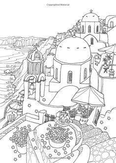 Coloring Europe: Magical Greece: A Coloring Book Tour of Greek Lifestyle and Culture: Il-Sun Lee: Amazon.com: Books Coloring Pages For Grown Ups, Coloring Pages For Kids, Coloring Book Pages, Printable Coloring Pages, Coloring Sheets, Greek Town, Mandala Coloring, Colored Pencils, Santorini